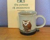 Studio Pottery Clay Handmade Wise Owl Coffee Tea Mug Cup Vintage
