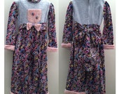 """Aunt Bess One of a Kind, Handcrafted Pink,Blue Chenille, Corduroy Paisley Girl Jumpsuit  Chest 30"""", Waist 28"""""""