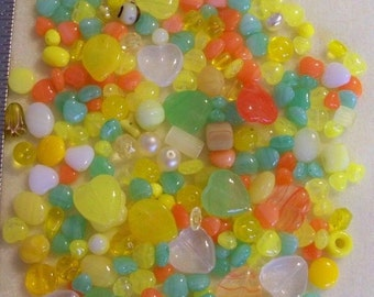 Czech Pressed Glass Beads Assorted Yellows or Pinks 200 pcs 1/4 lb