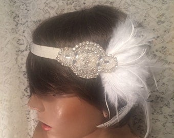 rhinestone headband flapper headband GATSBY headpiece Gatsby headband hair accessories ivory 1920's Art Deco headband bridal accessories