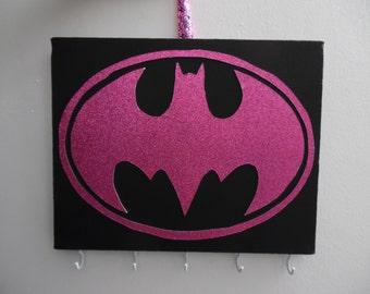 Pink Glitter Batgirl Logo Jewelry Holder