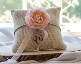 Pink flower custom ivory burlap ring bearer pillow  shabby chic with engraved heart  initials... many more colors available