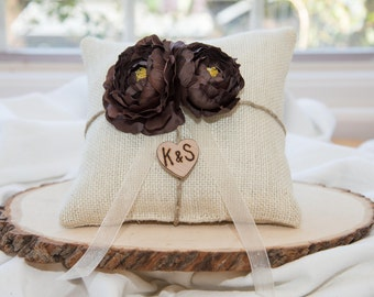 Brown flower ring bearer pillow You personalize it 10% discount promo code SPRING entire shop