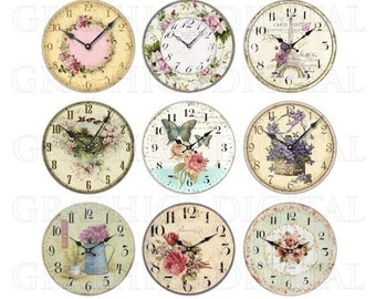 VINTAGE CLOCKS FLORAL clocks Digital Graphics Download Digital Collage Download 1 inch circles on 4 x 6 sheet floral clocks flowers clocks