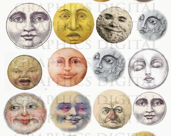 MOONS lunar full moon vintage moon Digital Graphics Lunar Astronomy Space Download Digital Collage Sheet circles