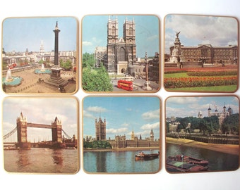 6 Vintage Win-El-Ware Trivets Featuring Scenic Views of England, with Case