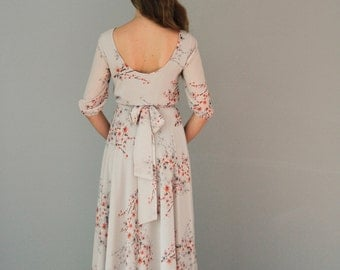Floral print maxi chiffon dress with scoop back