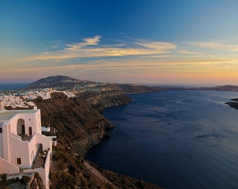 Santorini Sunset and Coastline Photograph - Gallery Wrapped Fine Art Canvas Print - Multiple Sizes