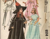 1962 Sewing Pattern McCall's 6514 Girl's witch, bride, fairy, angel costume size large 10-12 bust 28-30