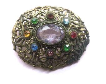 Czech Purple Lavender Rhinestone Vintage Brooch Antique Fashion Jewelry