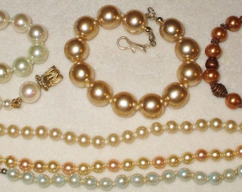6 Vintage Glass Pearl Bracelets