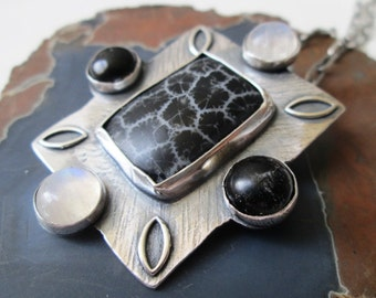 SALE 30 BUCKS OFF Black Fossil Coral Frame Pendant with White Moonstone and Black Onyx in Sterling Silver Necklace Jewelry