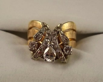 1970s Diamond Ring 1.13Ctw Yellow Gold 14K 7.9gm Size 7.5 Brushed Finish Wedding or Right Hand Ring
