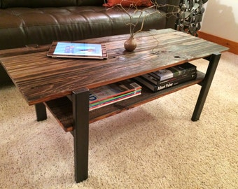 Rustic coffee table, Reclaimed wood coffee table with metal legs, Wood coffee table with magazine shelf, Coffee table
