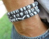 Vegan Men's Black and White Cotton Cord Wrap Bracelet. Can be Made for Women as Well.