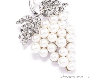 25pcs Pearl Diamante Brooch Embellishments, Wedding Wholesale Sparkle Wedding Rhinestone Wedding Fancy Wedding DIY, Brooch 410-S