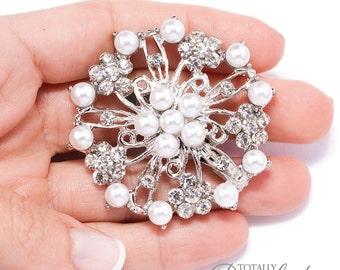 70pcs Diamante Pearl Brooches, Wholesale Wedding Bling DIY Wedding Napkin Crafts Wedding Card Bridal Brooch Pin Vintage Brooch, Brooch 411-S