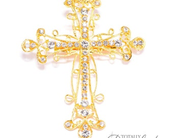 90 Pcs Wholesale Christening Crosses Brooch Embellishments, Bridal Bouquet Supplies Gold Cross Invitation Supply Wedding, Brooch 414-G