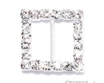 1pc Square Crystal Buckles, Wholesale Ribbon Slides Cake Decoration Elegant Wedding Bling Diamante Bridal Embellishments, Buckle 102-S