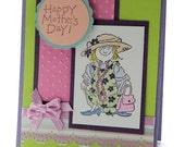 Happy Mother's Day Card, Greeting Card, Little Girl Dress Up, Lavender and Chartreuse