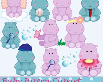 Baby Hippos Clip art Se -, Hippo Digital Art - Baby Hippo Graphics - Hippo Clip Art - Instant Download