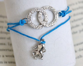 Handmade Bracelet Blue Multilayer Bracelet Intertwined Circles and Octopus Charm Bracelet