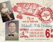 VINTAGE AIRPLANE MILESTONE Birthday Party Invitation - Photo Optional - 60th - 70th - 80th adult airplane Invite - Vintage airplane for men