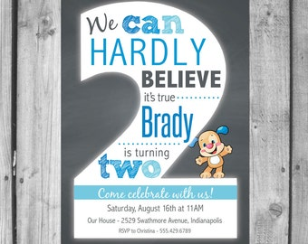 Playful Puppy 2nd Birthday Invitations