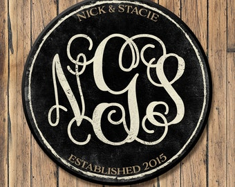 Personalized Wood Family Established Sign, Personalized Last Name Wood Sign, Vine Monogram, Established Date, 3 Sizes