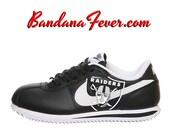 "Nike ""Oakland Raiders"" Cortez Leather Black/White - Football Fans Gift - NFL Football Oakland Raiders - Raiders Football, by Bandana Fever"