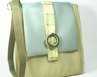 Canvas  Messenger Bag, Laptop Bag, Crossbody Bag, Vegan  Handbag, Grey and Khaki Handbag
