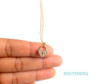 Rhinestone Locket Necklace, Goldplated Rhinestone Heart charm necklace, layering necklace, Dainty Necklace, everyday necklace