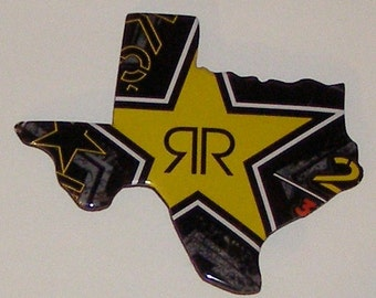TEXAS (TX) Shaped Magnet - RockStar Soda Can