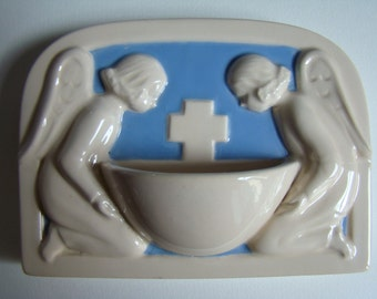 Holy Water Font - France Desvres 20th Century - signed Jeanne Ferrez