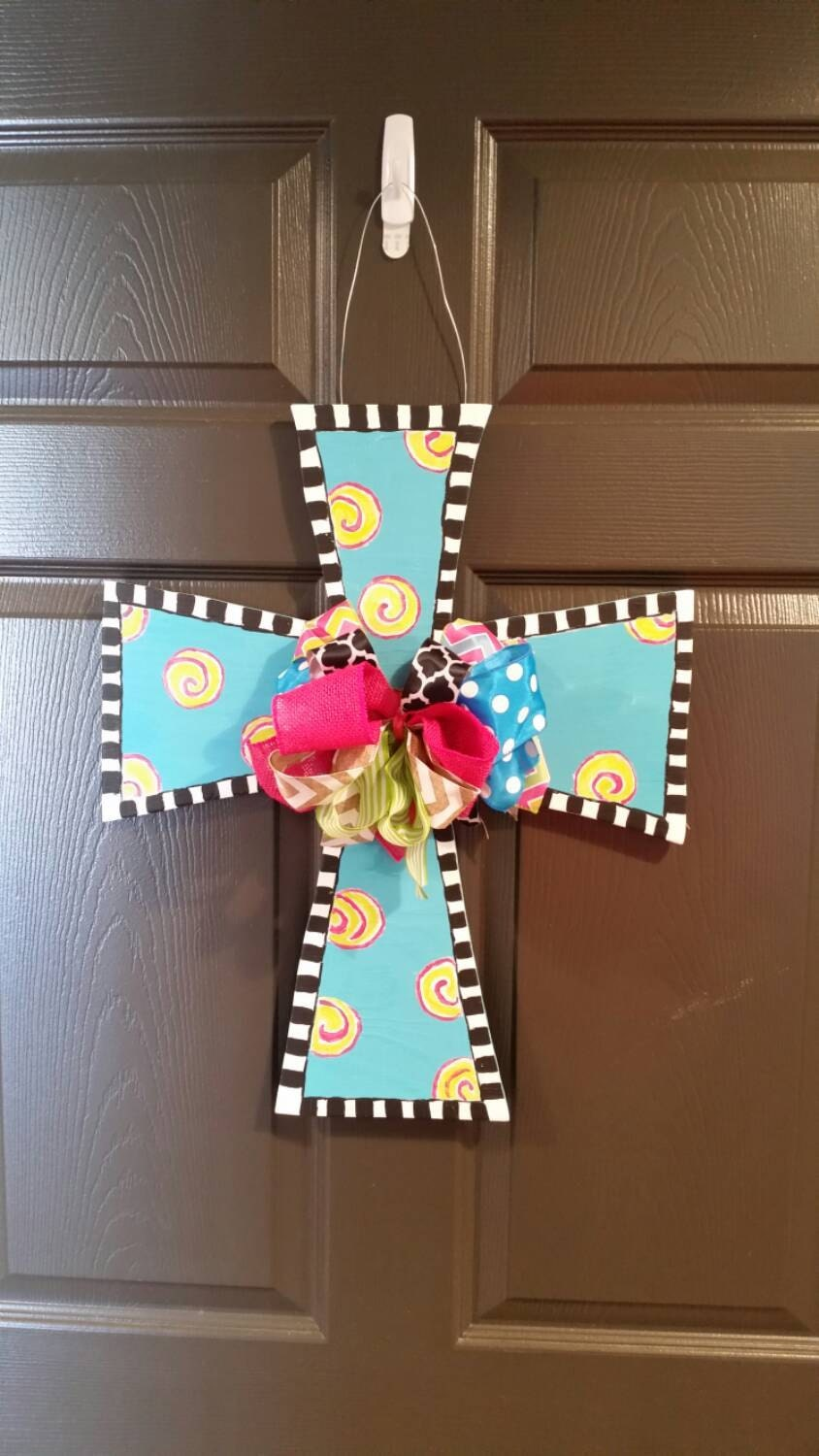 Decorative Door Hangers Decorative Painted Cross Door Hanger With Bow Door Hanger
