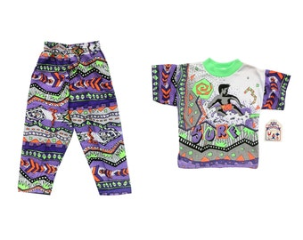 Deadstock 90s Neon Surfin' Toddler Party Suit - Age 2