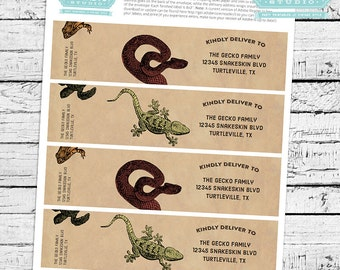 Reptiles & Amphibians Fillable Mailing Labels - INSTANT DOWNLOAD