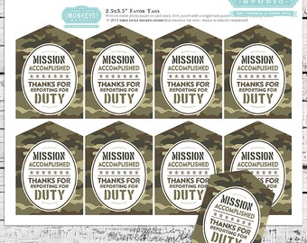 Little Soldier Camo Party Favor Tags - INSTANT DOWNLOAD