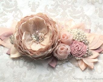 """Blush Dusty Rose Wedding Ribbon Sash """"Eva""""/ Handmade Bridal Sash"""