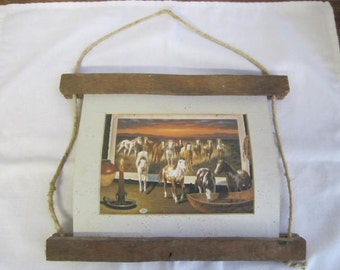 "Wood Frame ""Floating' Picture of horses. String, Wood, Card Rustic Primitive. 3D horse picture"