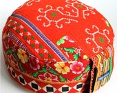 Red  Embroidered Unique Cushion Meditationcushion Pouf Zafu Pillow Filled with Organic Spelt Grain