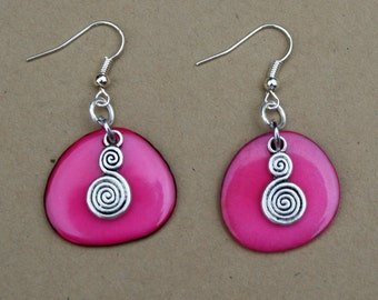 Tagua Nut and Charms Earrings - Pink,  fair traded, sustainable amazonian resources, vegetable ivory nut.