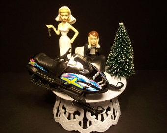 Got the Key SNOWMOBILE Bride and Groom w/ Die-Cast BLACK Arctic Sled Wedding Cake TOPPER and Snowy Tree Groom's Cake