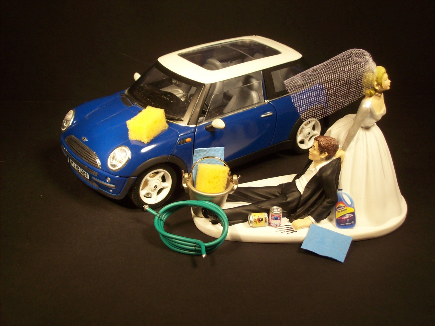 AUTO CAR Wash Mini COOPER Blue Funny Wedding Cake Topper