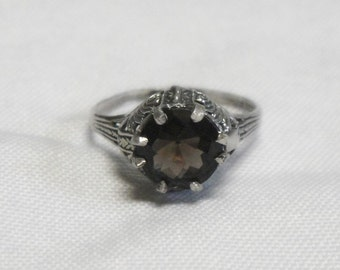 Smoky Quartz Ring - 2 Carats - Sterling Silver - Vintage