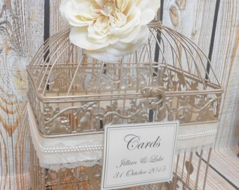 Large Champagne Gold Wedding Birdcage Card Holder / Wedding Card Box / Lace and Pearls / Customized Birdcage