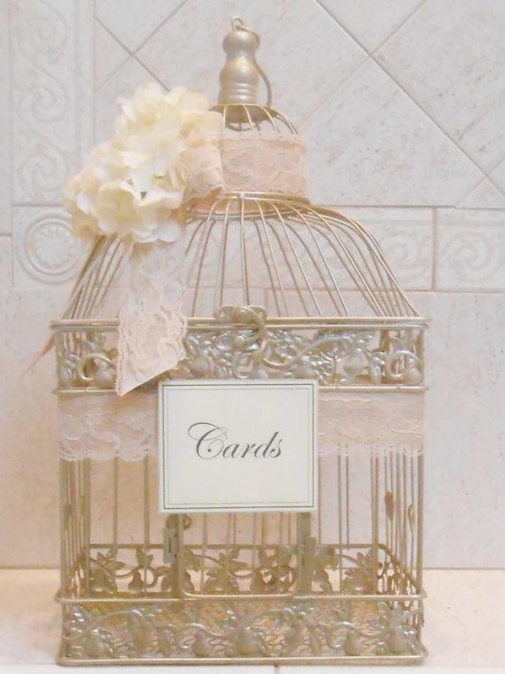 Large Birdcage Wedding Card Holder / Champagne Gold Birdcage / Wedding ...