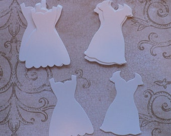 16 pc. Stampin Up Dress Up Paper Piecing Shapes from Stampin Up Die - White Shimmer Cardstock 4 cards Crafts Bride Wedding Dress