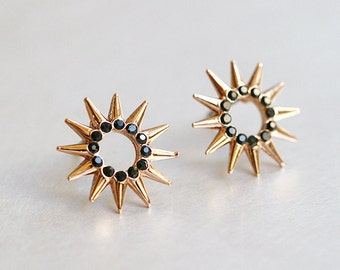 Rose Gold Circle Spike Stud Earrings