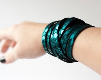 Leather Bracelet / Original Sliced Wrap Cuff / Mermaid Scales